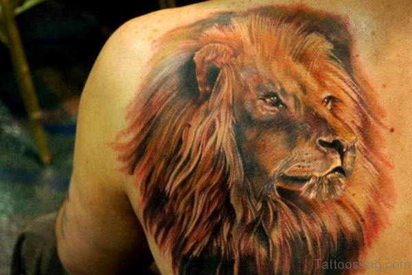 Lion Face Tattoo On Bach Shoulder
