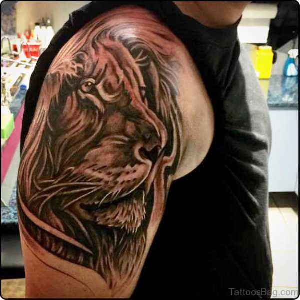 Lion Face Tattoo On Shoulder