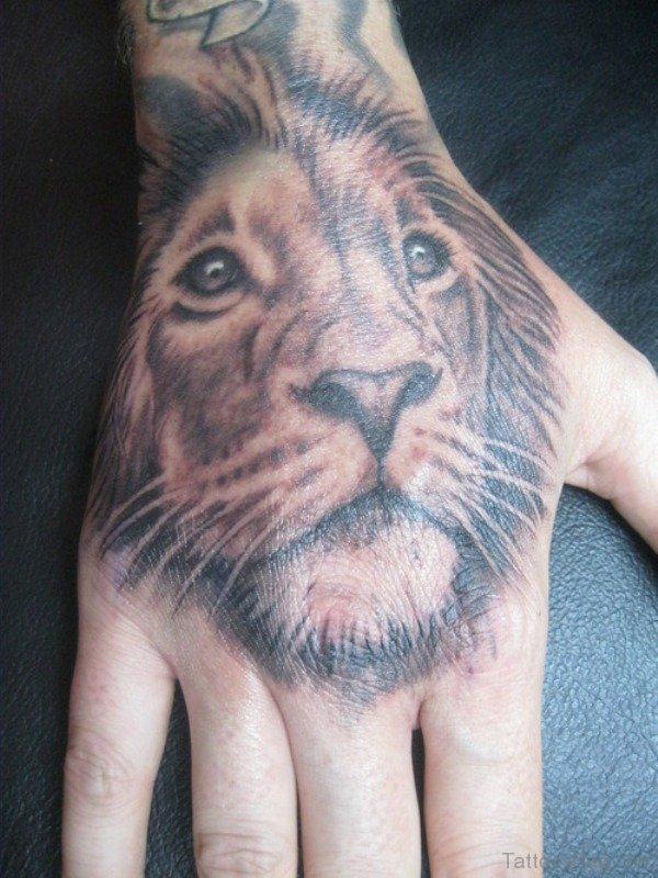 Lion Head Tattoo Design On Hand