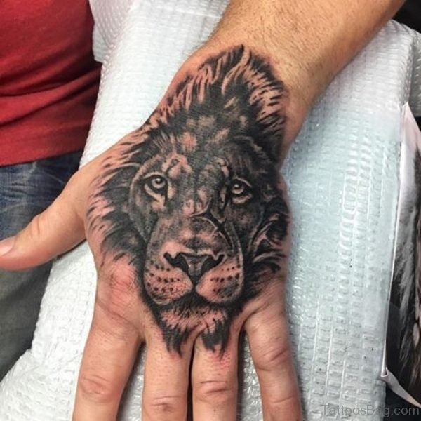 Lion Head Tattoo On Hand