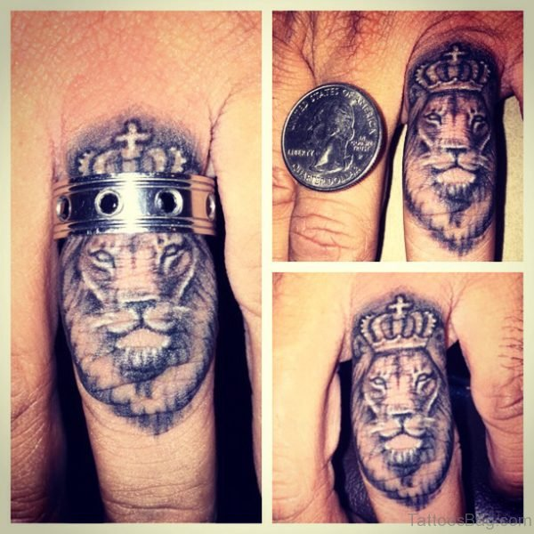 Lion King Tattoo On Middle Finger