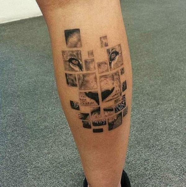Lion Print Tattoo On Leg