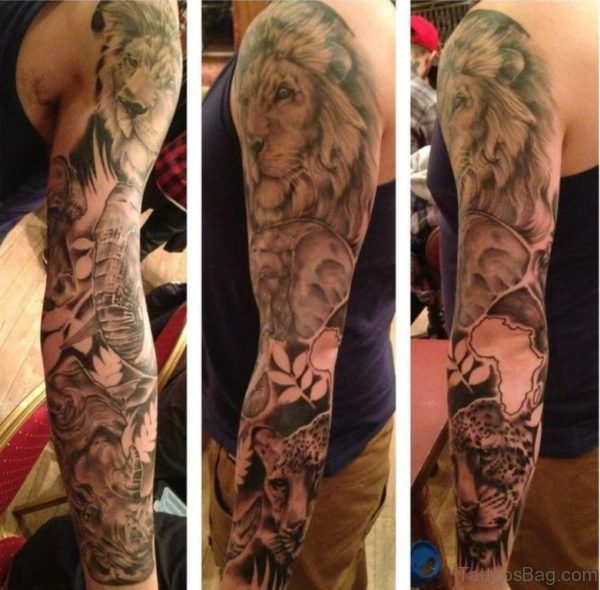 Lion Tattoo Design On Full Sleeve