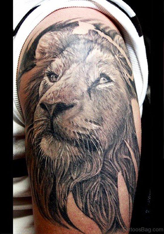 Lion Tattoo Design On Shoulder