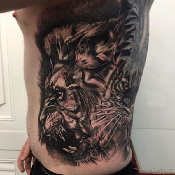 Lion Tattoo On Rib