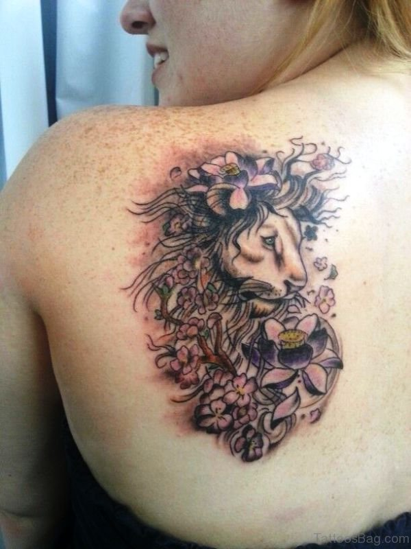 Lion With Flowers Tattoo On Back Shoulder