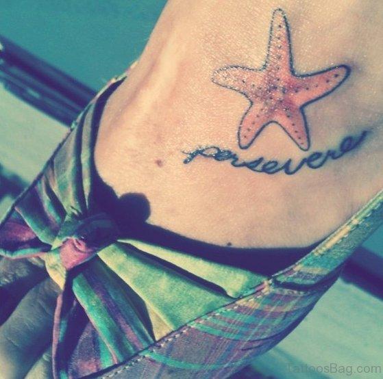 Little Starfish Tattoo On Foot