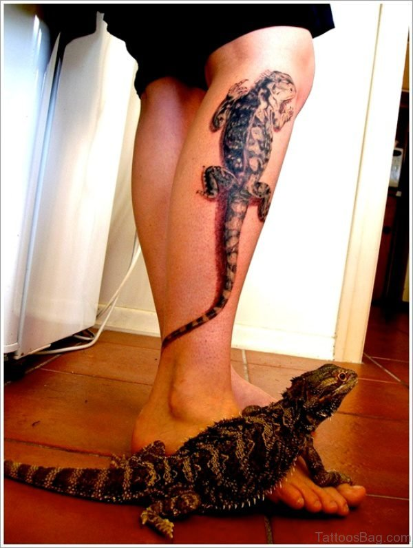 Lizard Tattoo Design On Calf