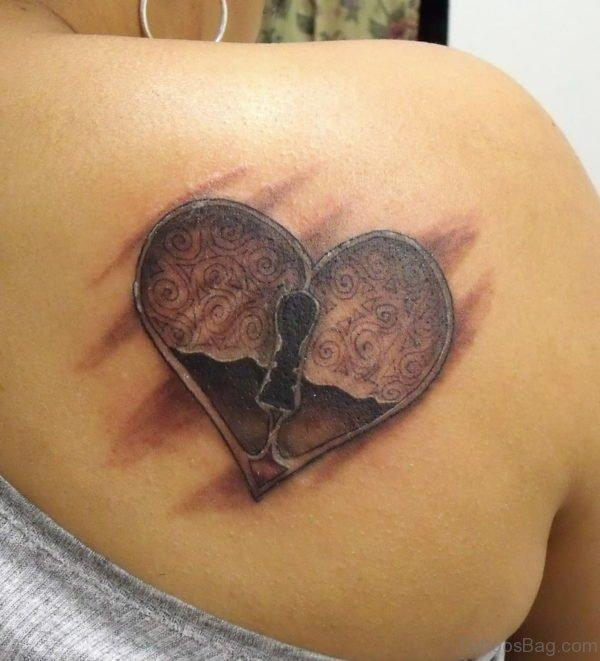 Locked Heart Tattoo On Back