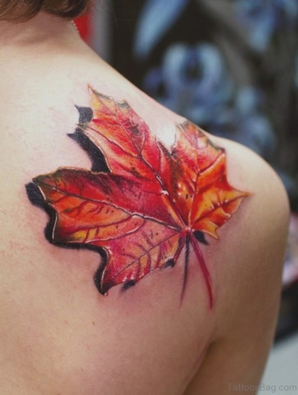 Lonely Maple Leaf 3D tattoo on Shoulder