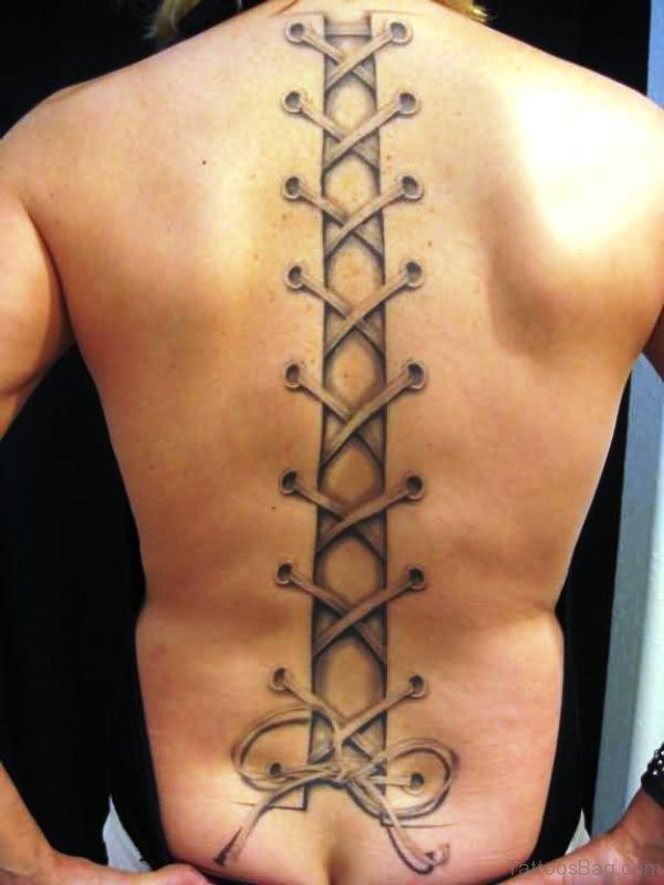 Long Corset Tattoo On Full Back