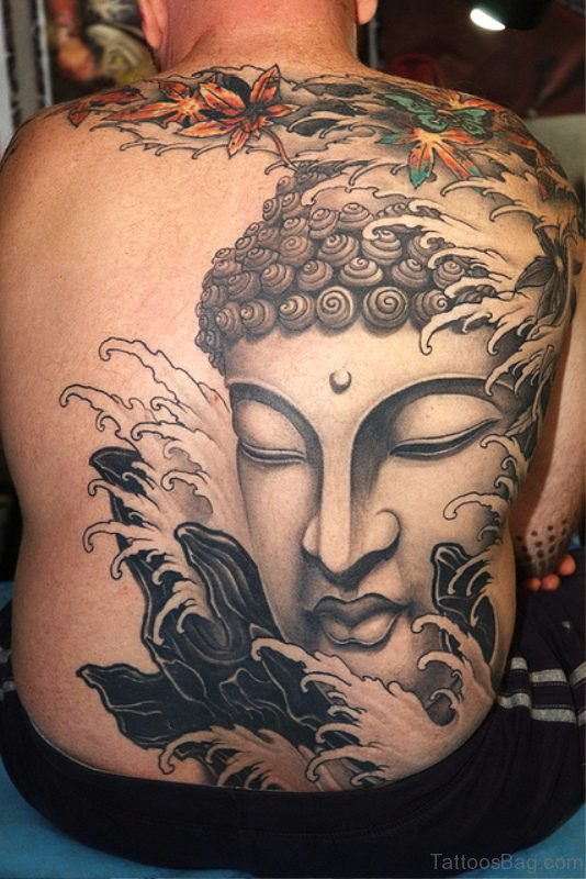 Lord Buddha Tattoo On Back