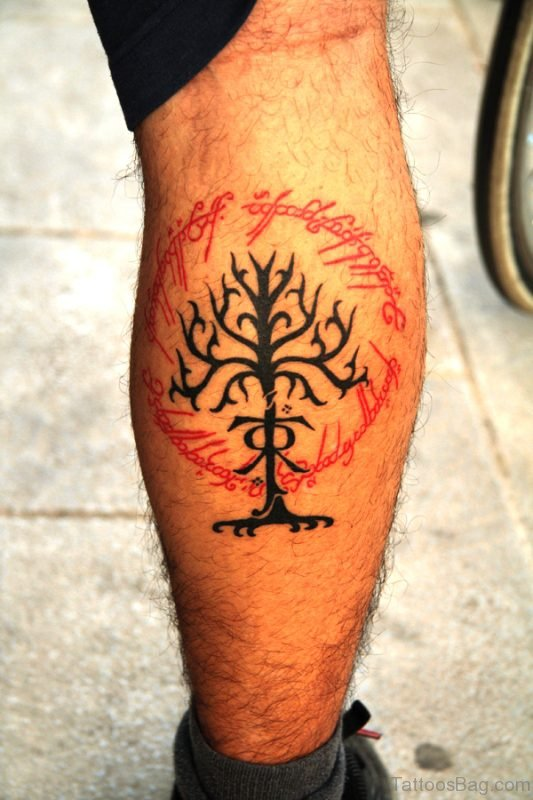 Lord Of The Rings Tattoo Design On Calf