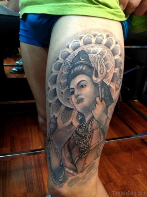 Lord Shiva Tattoo On Thigh