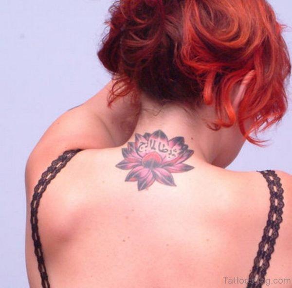 Lotus Flower Tattoo On Girl Nape