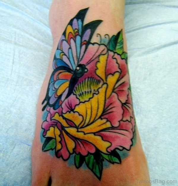 Lotus Flower and Butterfly Tattoo Designs On Hand
