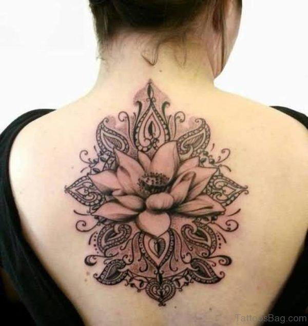 Lotus Tattoo On Upper Back