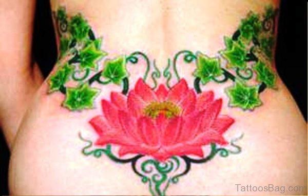 Lotus Vine Tattoo On Back