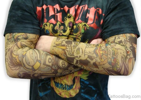 Love And Skull Tattoo On Full Sleeve