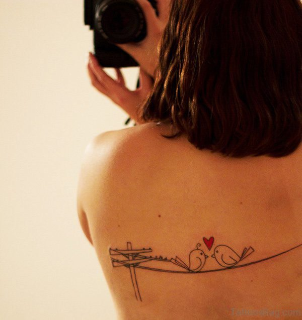 Love Birds Tattoo On Back