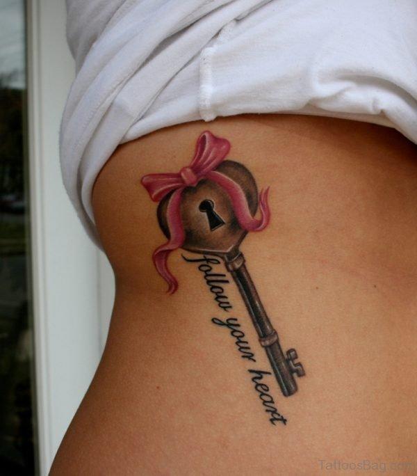 Love Heart Key Tattoo