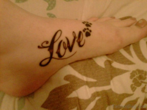 Love Paw Tattoo On Foot