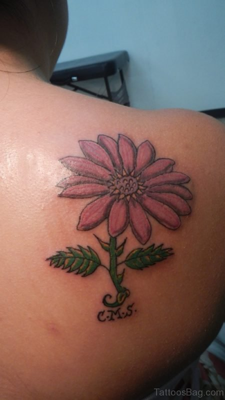 Lovable Daisy Flower Tattoo On Back