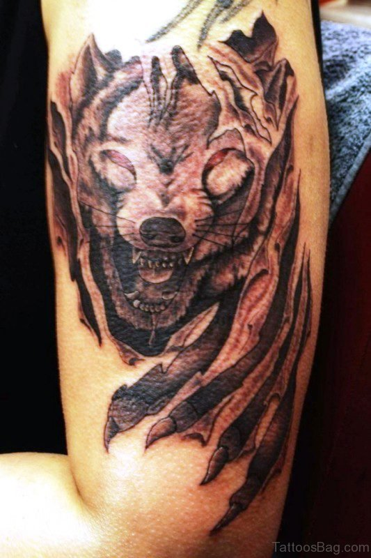 Lovely Alpha Wolf Tattoo On Shoulder