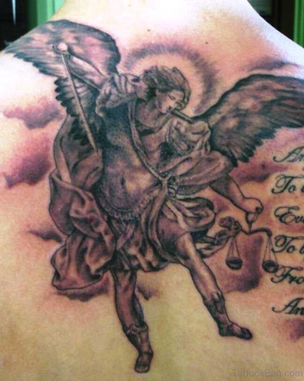 Lovely Archangel Tattoo On Back