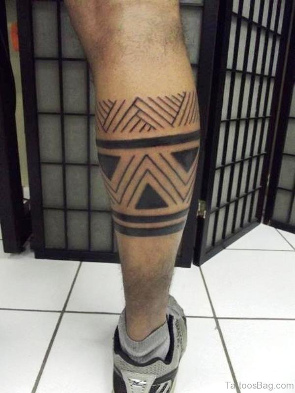 Lovely Band Tattoo On Leg