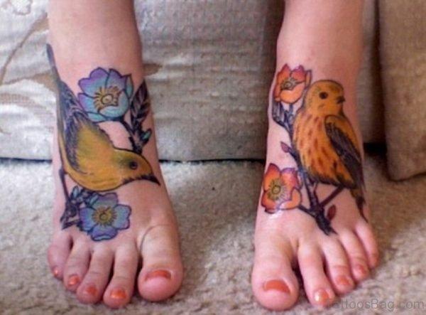 Lovely Bird Tattoo On Foot