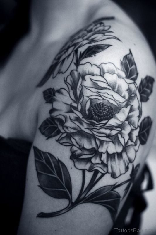 Lovely Black And White Flower Designer Tattoo
