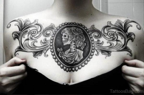 Lovely Black Tattoo On Chest For Women