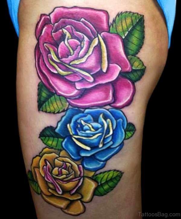 Lovely Blue Rose Tattoo Design