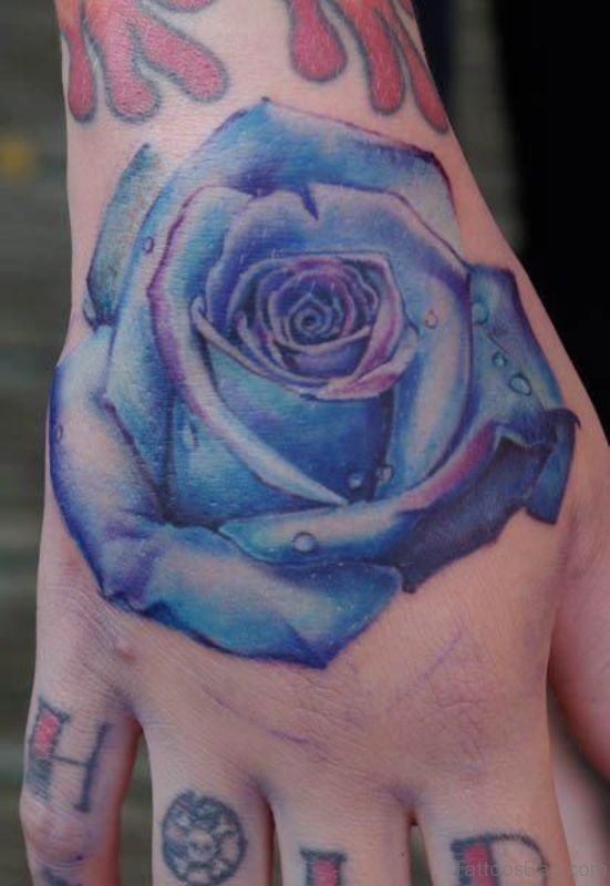30 fantastic blue rose tattoos on hand for Electric hand tattoo