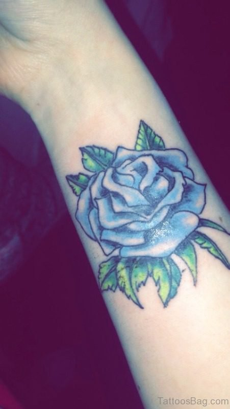 Lovely Blue Rose Wrist Tattoo