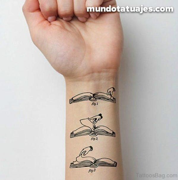 Lovely Book Tattoo On Wrist