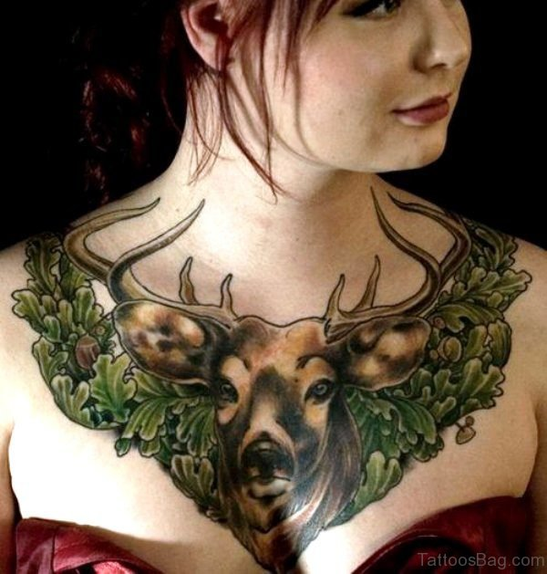 Lovely Buck Tattoo On Chest