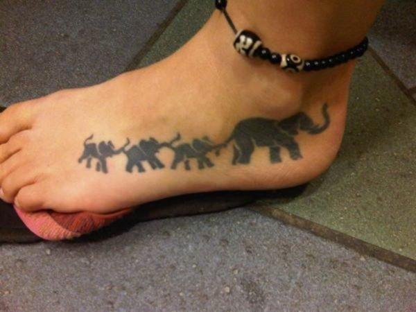Lovely Elephant Family Tattoo