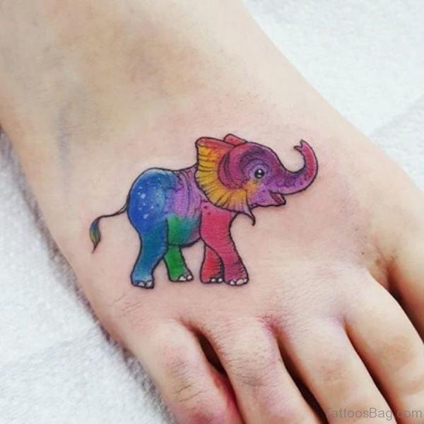 Lovely Elephant Tattoo On Foot