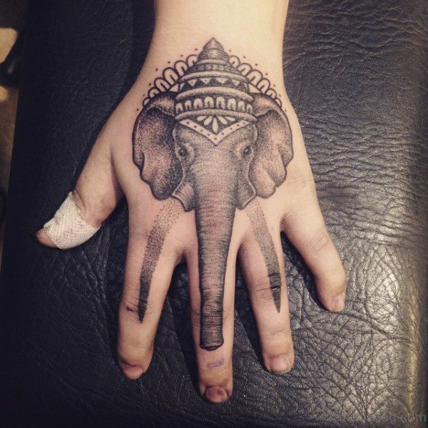 Lovely Elephant Tattoo On Hand 1