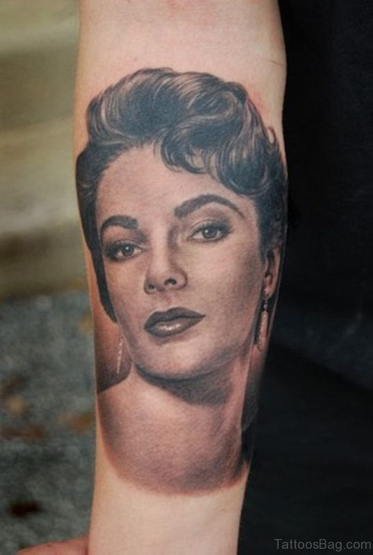 Lovely Elizabeth Taylor Portrait Tattoo On Arm