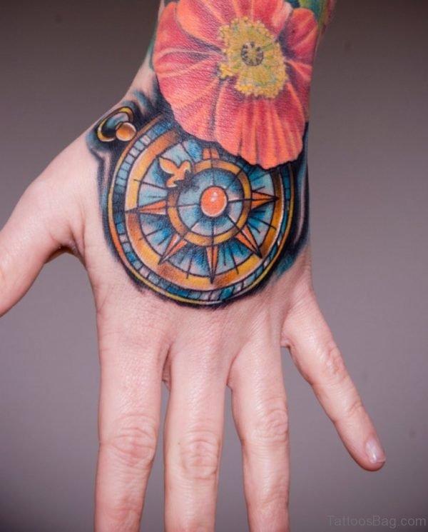 Lovely Flower Tattoo On Hand