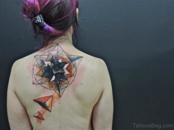 Lovely Geometric Tattoo On Nape