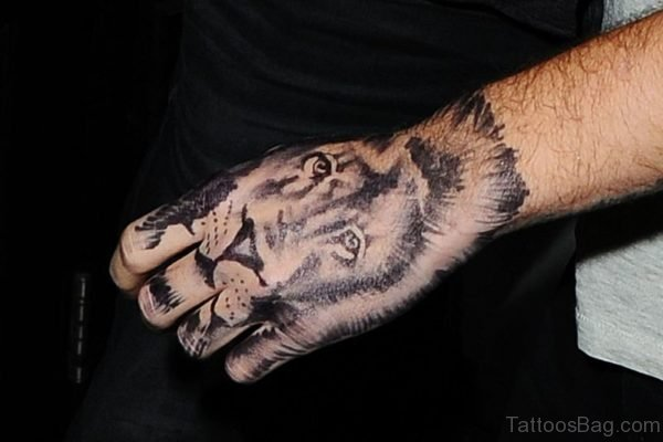 Lovely Lion Tattoo On Head