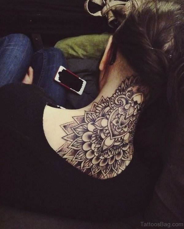 Lovely Mandala Back Neck Tattoo