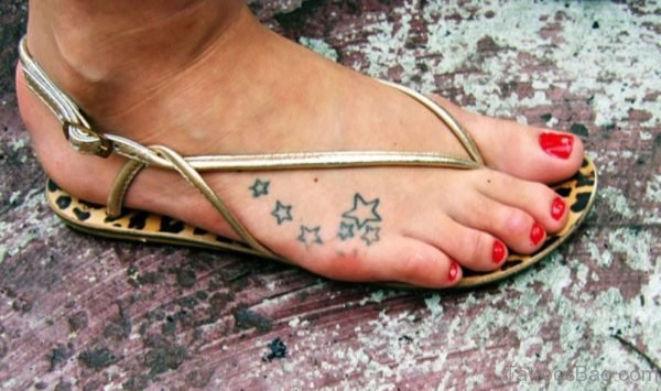Lovely Star Tattoo On Foot