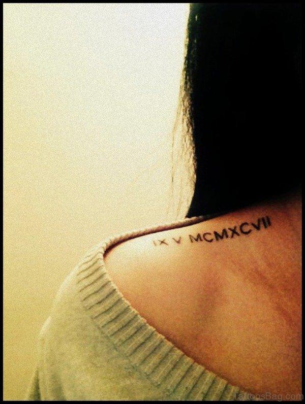 Roman numeral tattoo shoulder