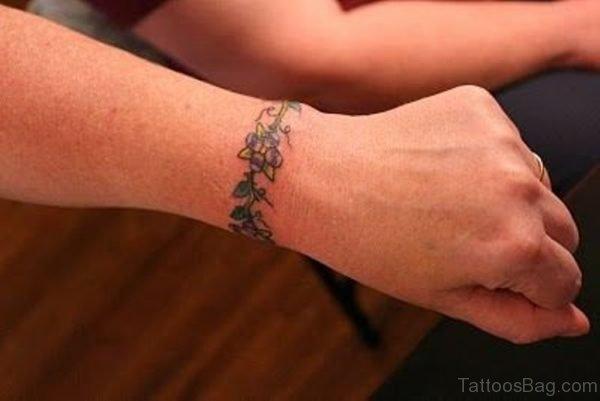 Lovely Vine Tattoo On Wrist