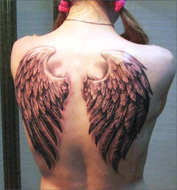 Lovely Wings Tattoo On Back
